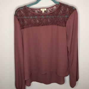 Purple Lily White Long Sleeve Top